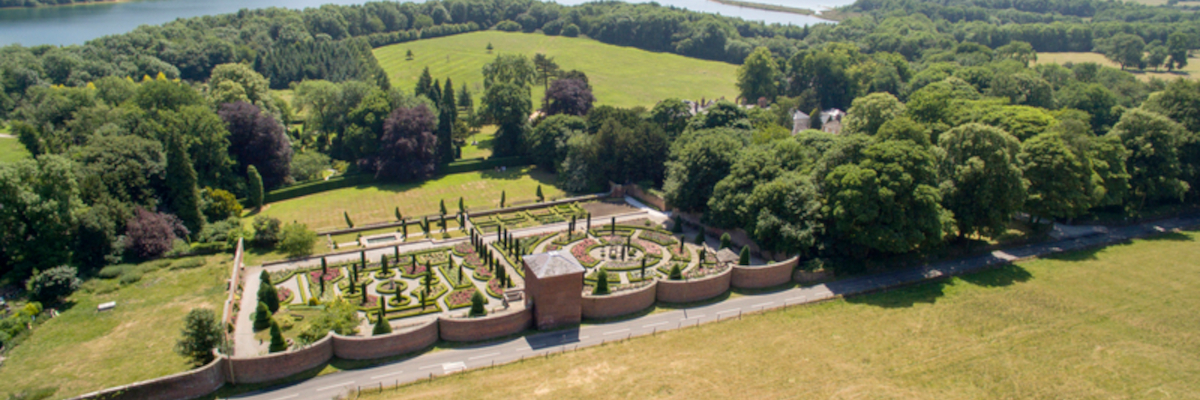 Aerial view of Hopton Hall & Gardens towards Carsington reservoir