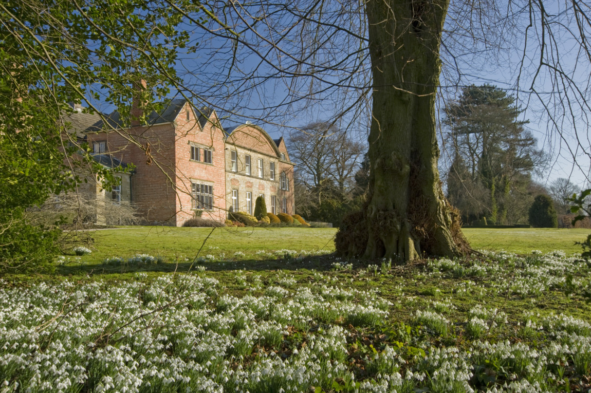 Snowdrops in front of Hopton Hall